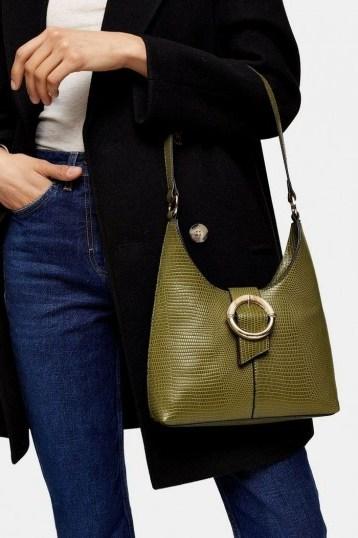 Topshop AMBER Green Lizard Shoulder Bag - flipped