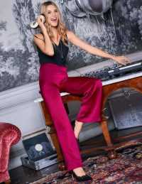 Boden Amney Satin Wide Leg Trousers in English Berry ~ high waist party pants