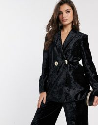 & Other Stories crushed velvet double breasted blazer in black – luxe style evening trousers suit jackets