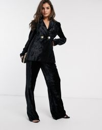 & Other Stories crushed velvet wide leg trousers in black – pant suits