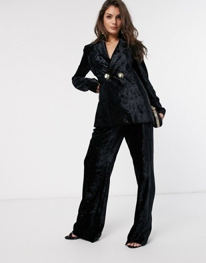 & Other Stories crushed velvet wide leg trousers in black – pant suits - flipped
