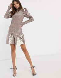 & Other Stories metallic shirred mini dress in METALLIC rose – luxury look party fashion