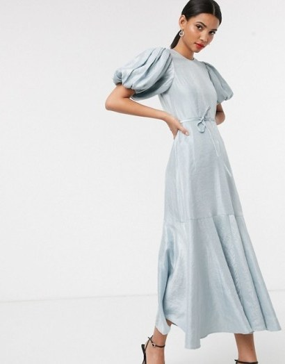 & Other Stories puff sleeve metallic midaxi dress in ice blue - flipped