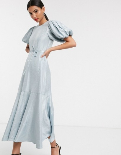 & Other Stories puff sleeve metallic midaxi dress in ice blue