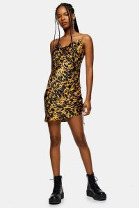 Topshop Animal Ruched Satin Slip Dress in Mustard