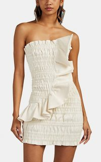 AREA Ruched Cotton-Blend Lamé Strapless Minidress in Ivory