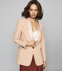 REISS ARIANNA SATIN TRIMMED CREPE BLAZER SOFT PINK ~ feminine jackets