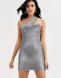 ASOS DESIGN asymmetric metallic one shoulder mini dress in silver / party bodycon