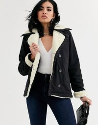 ASOS DESIGN denim aviator jacket with contrast borg collar in washed black | faux fur lined jackets