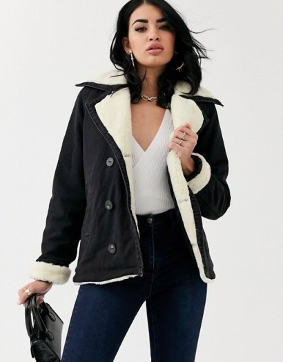 ASOS DESIGN denim aviator jacket with contrast borg collar in washed black | faux fur lined jackets - flipped