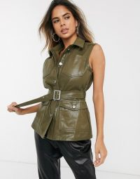 ASOS DESIGN denim metallic coated gillet in khaki | sleeveless jackets