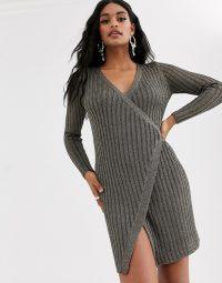ASOS DESIGN metallic knit wrap dress in pewter
