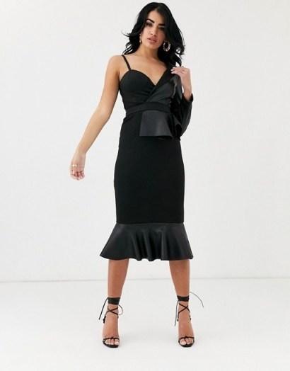 ASOS DESIGN one shoulder pu scuba mix pep bodycon midi dress | LBD - flipped