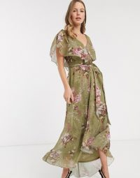 ASOS DESIGN split sleeve cape back dipped hem maxi dress with tie shoulder in vintage bouquet floral / long feminine floaty dresses