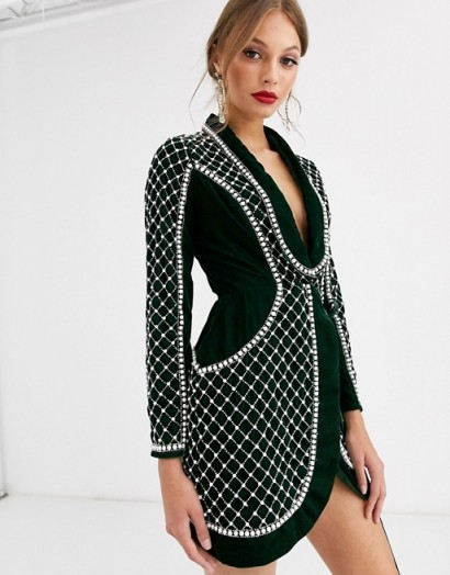 ASOS DESIGN velvet tux with pearl embellishment in forest green – luxe style tuxedo dresses