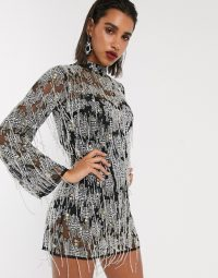 ASOS EDITION mini shift dress in heavily embellished fringe and diamante in black / high neck party dresses