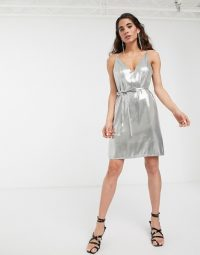 ASOS WHITE metallic strappy belted mini dress in silver – thin strap party dresses