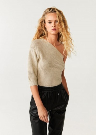 MANGO Asymmetric knit sweater in gold / shimmering knits - flipped