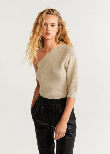 MANGO Asymmetric knit sweater in gold / shimmering knits