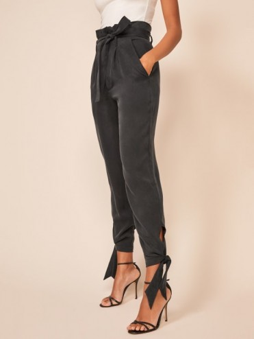 Reformation Avalon Pant in Black | glamorous evening pants