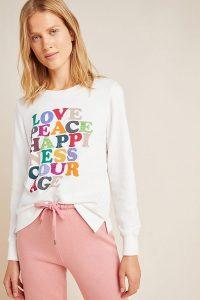 Garima Dhawan Love Peace Happiness Sweatshirt in Ivory