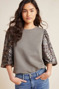Amadi Eryna Lace-Sleeved Top in Grey
