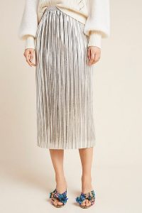 Maeve Nikola Midi Skirt in Silver / metallic plisse skirts