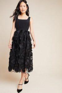 Maeve Floriana Lace Midi Dress in Black / lbd