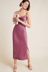 Anthropologie Bias Slip Dress in Plum | front draped cami dresses