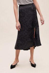 Anthropologie Floral-Jacquard Bias Skirt in Black