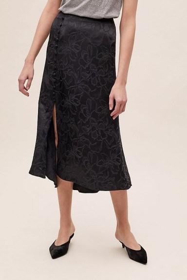Anthropologie Floral-Jacquard Bias Skirt in Black - flipped