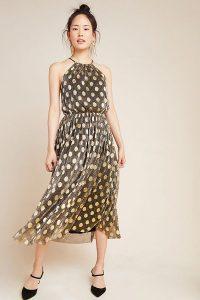 Sunday in Brooklyn Confetti Halter Midi Dress in Black Motif / metallic polka dots / halterneck occasion dresses
