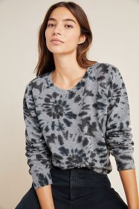 T.La Joni Tie-Dyed Sweatshirt in Grey / crew neck sweat top