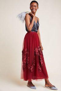 Varun Bahl Benita Tulle Maxi Skirt in Wine / long sheer overlay skirts