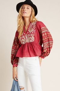 ANTHROPOLOGIE Keira Embroidered Peplum Blouse in Red Motif