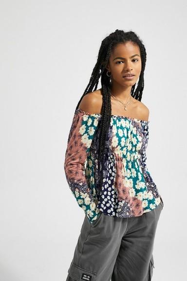 UO Rebel Floral Ruched Off-The-Shoulder Top / gathered bardot tops