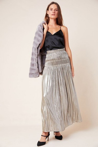 Current Air Zadie Metallic Maxi Skirt in Silver ~ smocked waist skirts - flipped