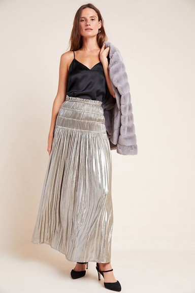 Current Air Zadie Metallic Maxi Skirt in Silver ~ smocked waist skirts