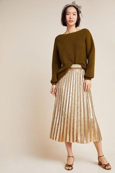 Maeve Natalia Sequinned Midi Skirt in Bronze ~ metallic pleats