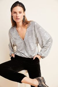 ANTHROPOLOGIE Carys Dolman Top in Silver