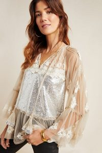 Rina Dhaka Ana Sequinned Peasant Blouse in Ivory ~ metallic luxe ~ feminine blouses