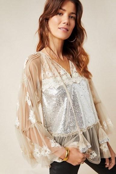 Rina Dhaka Ana Sequinned Peasant Blouse in Ivory ~ metallic luxe ~ feminine blouses - flipped