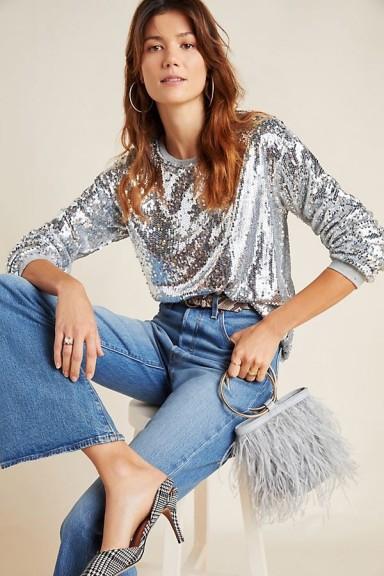 Eri + Ali Babette Sequinned Sweatshirt in Silver