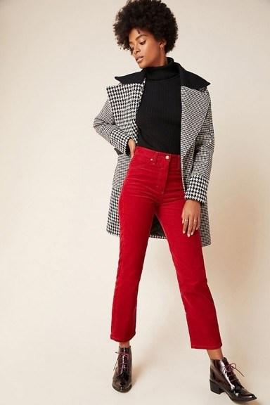 NVLT Colourblocked Plaid Coat in Black and White / wide lapel coats - flipped