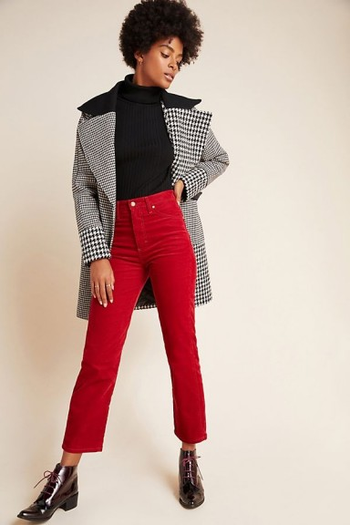 NVLT Colourblocked Plaid Coat in Black and White / wide lapel coats