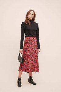 Jessica Russell Flint Mixed-Print Satin Bias Skirt in Medium Pink