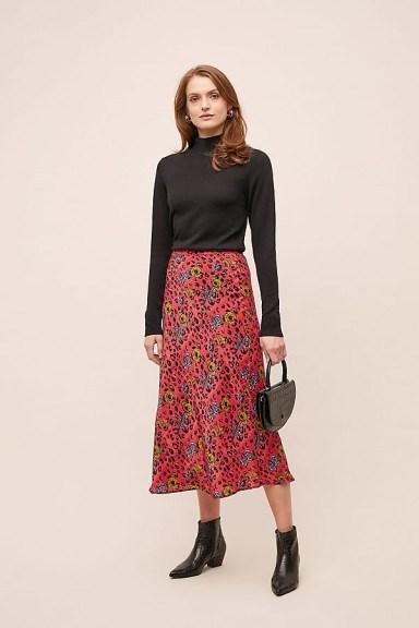 Jessica Russell Flint Mixed-Print Satin Bias Skirt in Medium Pink - flipped