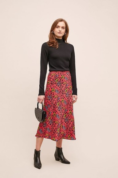 Jessica Russell Flint Mixed-Print Satin Bias Skirt in Medium Pink