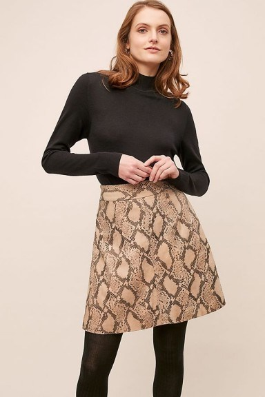 Just Female Noemi Snake-Effect Leather Skirt Brown Motif / classic A-line skirts - flipped