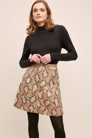 Just Female Noemi Snake-Effect Leather Skirt Brown Motif / classic A-line skirts